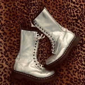 Rare tall silver leather Dr. Martens lace up boots